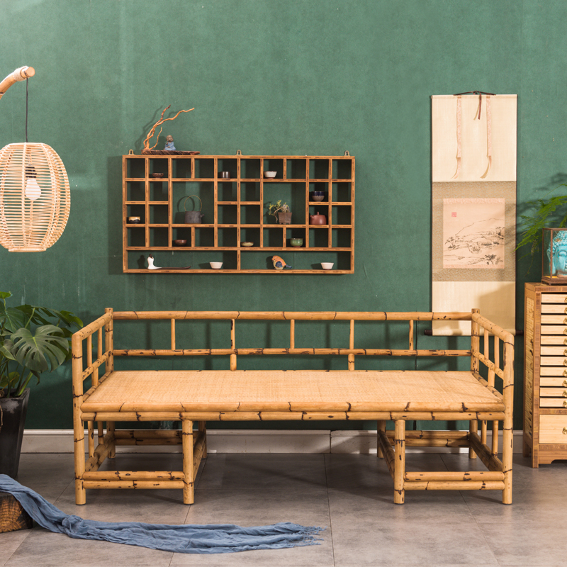 Original bamboo and rattan simple new Chinese Ocean bed collapsed antique  Zen living room with double sofa collapse Promotions