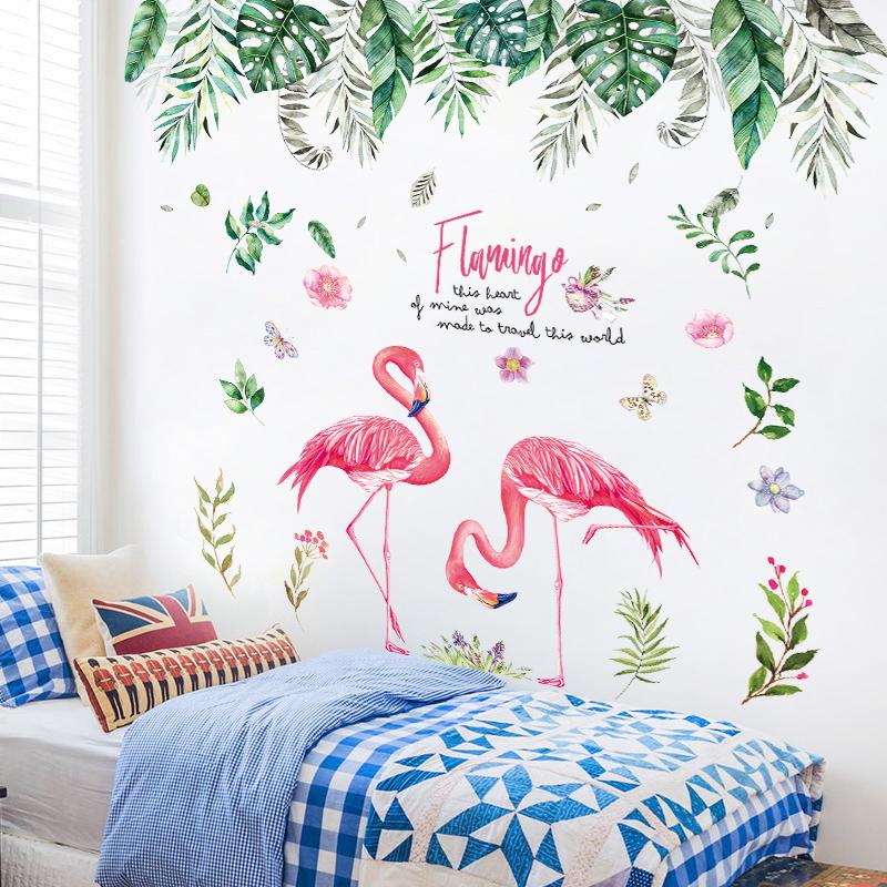 創意個性ins植物墻貼紙貼畫臥室床頭墻壁裝飾品溫馨房間自粘墻紙