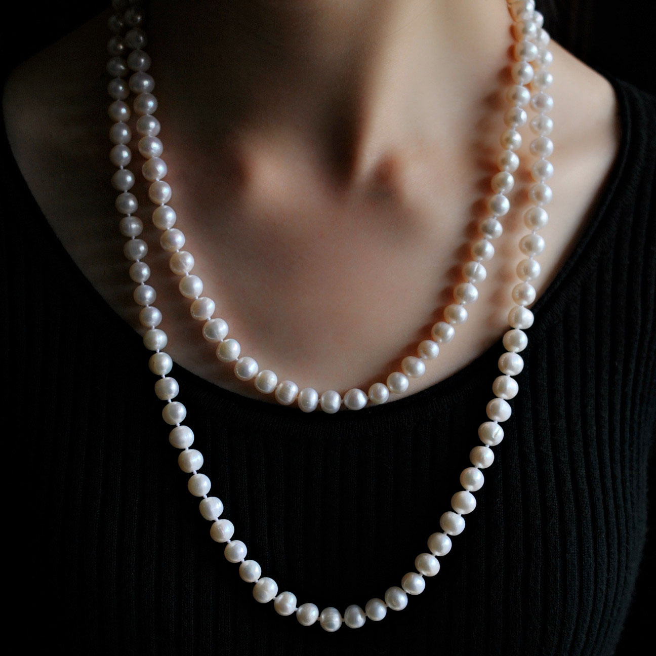 多层。项链强光珍珠毛衣经典佳人款珍珠长链秋冬季淡水天然链
