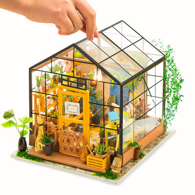 If state diy cottage handmade new year gift small house model DIY art house Kathy flower house glass house