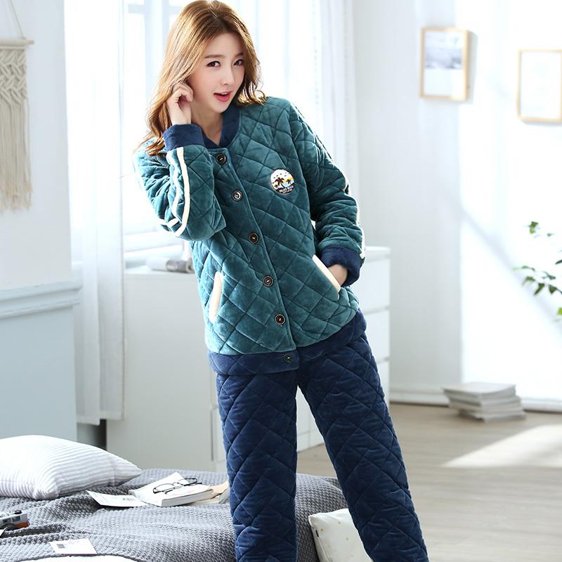 Coral lông cừu đồ ngủ phụ nữ mùa thu và mùa đông dày cộng với nhung ba lớp ấm áp cộng với áo len cotton flannel phù hợp với dịch vụ nhà - Nam giới