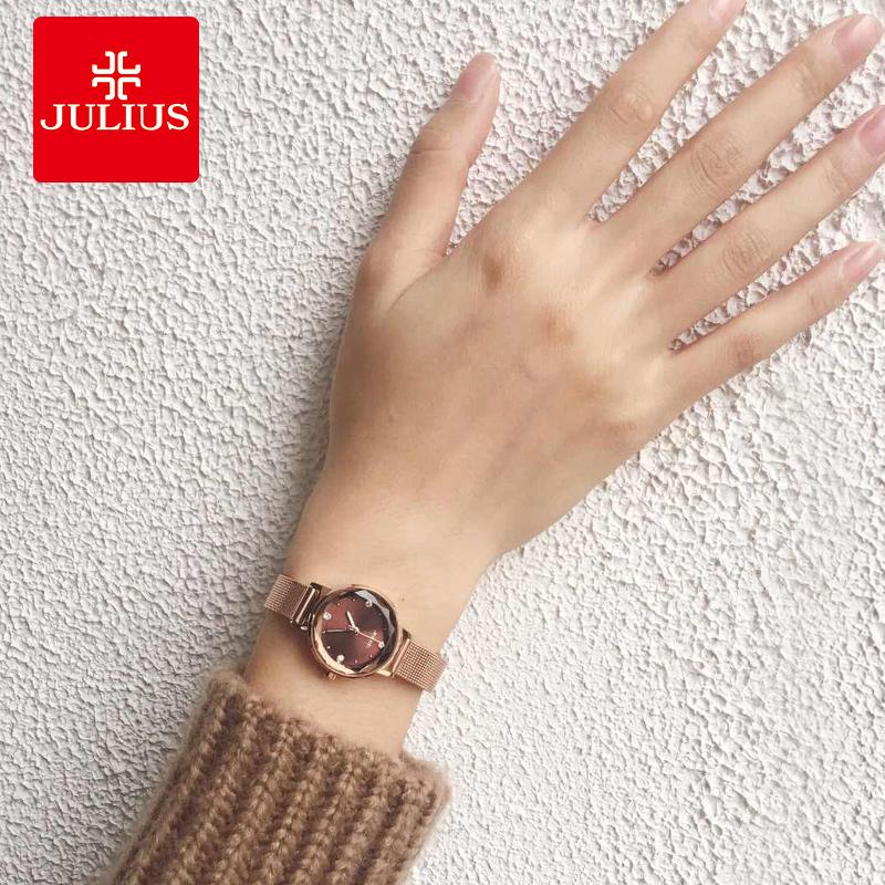 聚利时女士手表学生韩版时尚潮流防水石英表钢带款手表女简约腕表