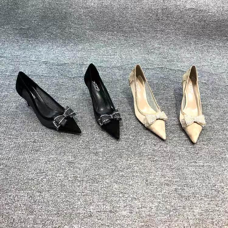欧洲站欧货2019春季新款真皮磨砂皮女鞋网纱套脚细跟高跟鞋单鞋潮