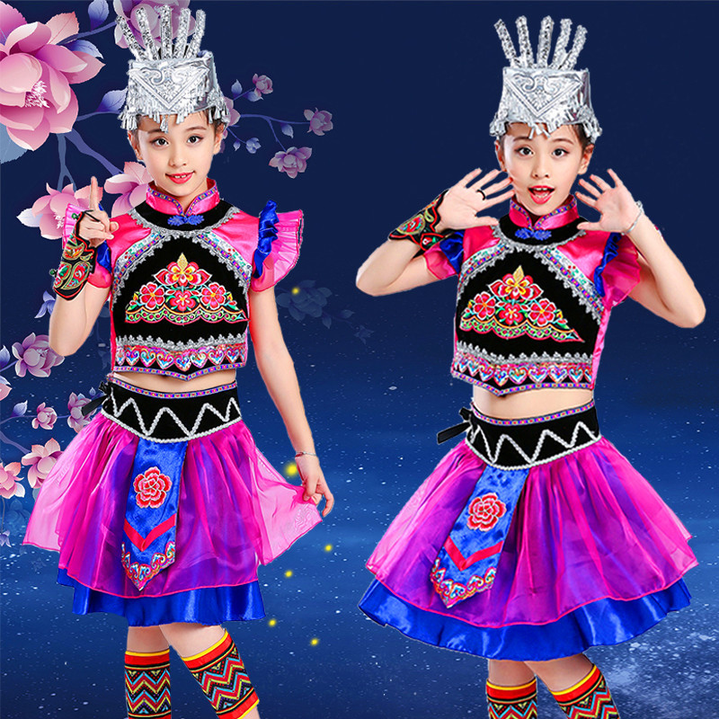 Children's ethnic minority costumes, girls'Miao dance costumes, children's Pengpeng skirt costumes and Yi costumes