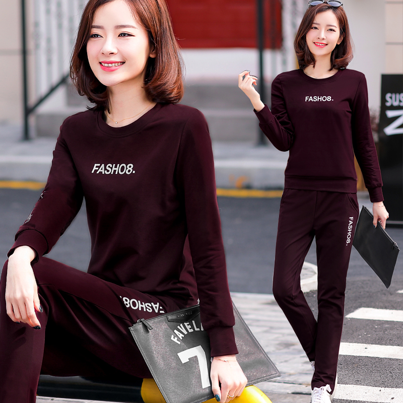 078d0986225fb Casual sportswear suit female 2018 spring and autumn new fashion ladies  Korean version of the large size loose sweater two-piece suit