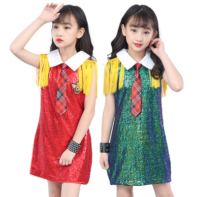 Children Model Walking Show Singer Presenter Performing Clothes Segments Girls Uniform Skirt Performing Clothing Shelf Drum Stage
