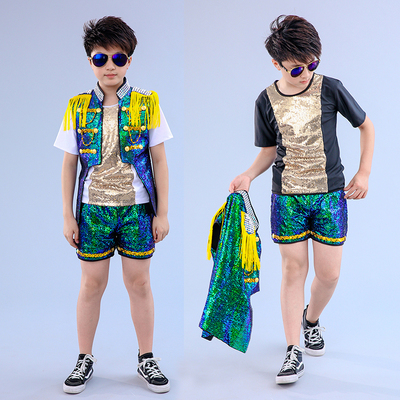 Children drum and shelf costume Boys Jazz Dance Costume sequins Short-sleeved model stage fashion