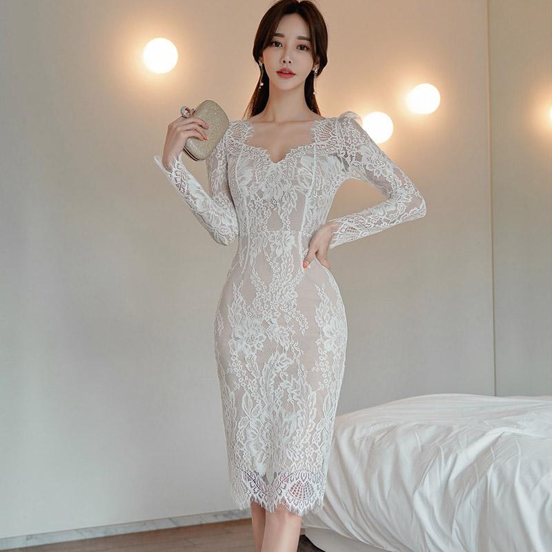 2021秋装新款韩版名媛打底中长款修身女装蕾丝包臀气质连衣裙时尚