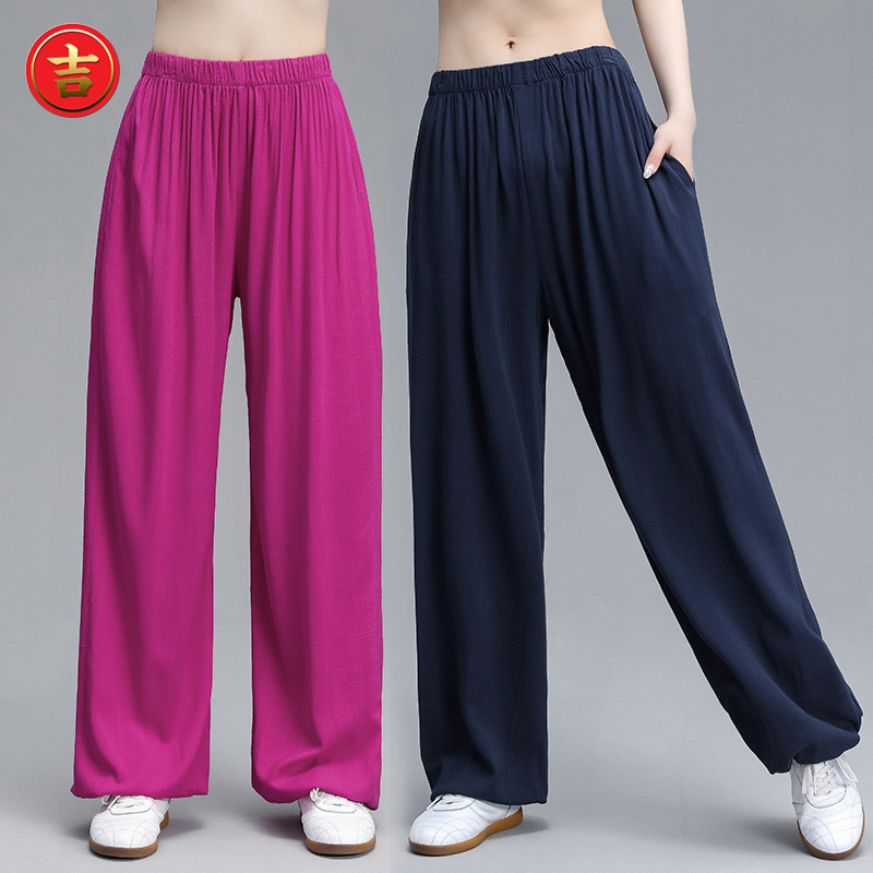 Taiji trousers, men and women stretch cotton and hemp lanterns, pure color slacks, Wushu Yoga Qigong exercise trousers