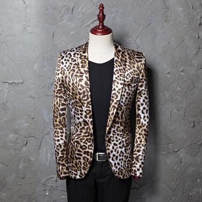 Printed leopard pattern dress men's leisure suit jacket photo studio host hairstylist suit performance clothes