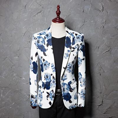 Blue Printed Dress Men's Leisure Suit Jacket Studio Moderator Hairstylist's Single Suit Jacket