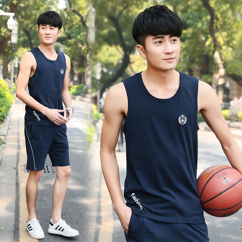 夏季男士无袖运动套装宽松纯棉背心短裤篮球服休闲大码健身跑步服