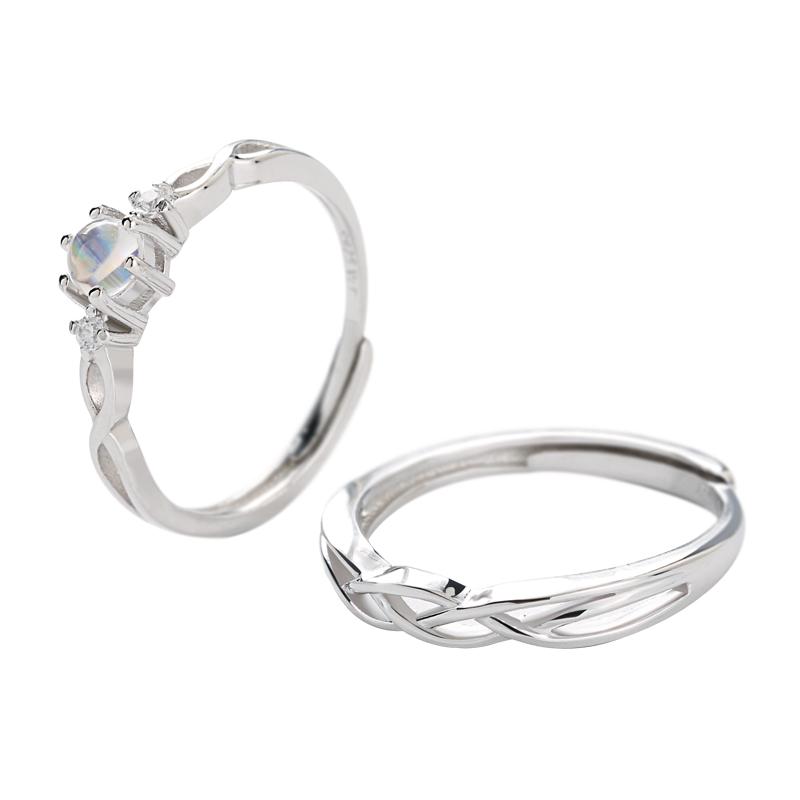 月光石情侣戒指s925纯银日韩学生简约开口戒子男女一对戒刻字指环