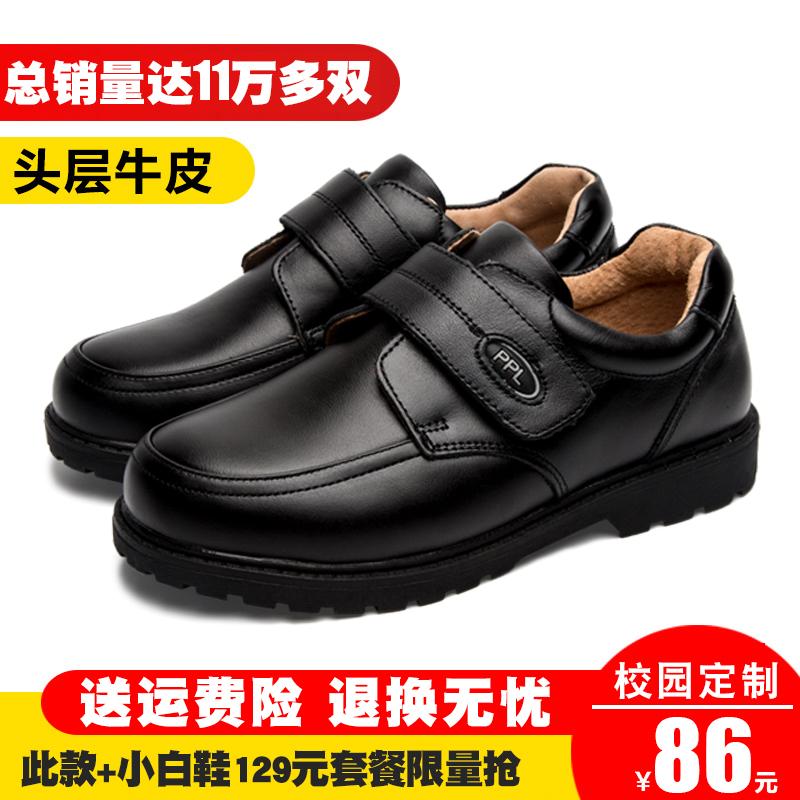 男童黑色皮鞋2018秋冬加绒大童休闲鞋英伦真皮小学生演出鞋儿童鞋