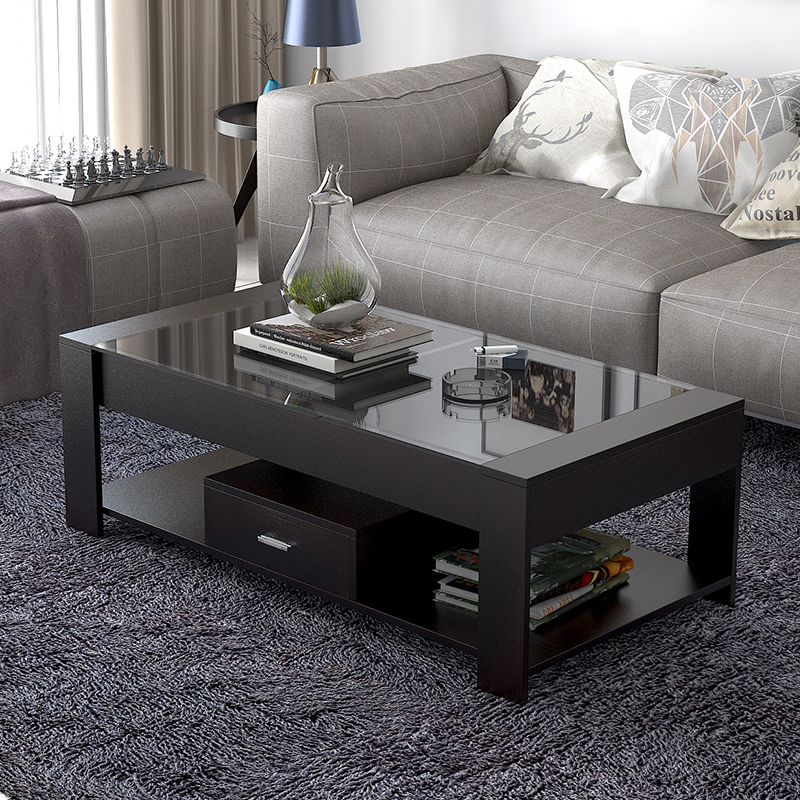 Simple modern tempered glass coffee table table small apartment creative  rectangular tea table living room non-wood