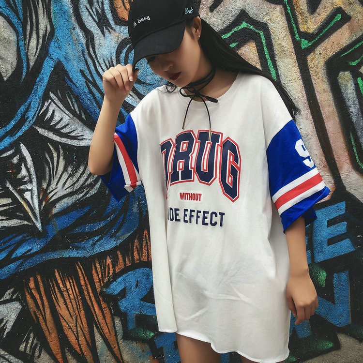 5593b50df61 Summer Street Hip-Hop basketball couple half-sleeved shirt hedging in the  long section of men and women spell color short-sleeved T-shirt students