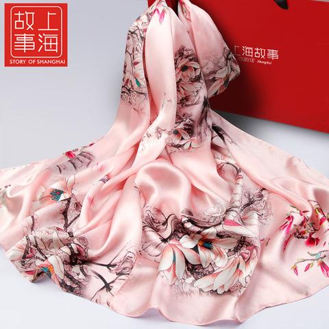 上海故事丝巾中年女妈妈款百搭长款桑蚕丝杭州丝绸真丝围巾春秋薄