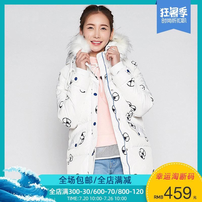 【单码XL】艾格ES卡通可爱冬装印花连帽羽绒服女M077