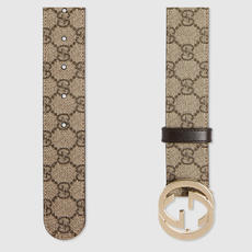 89d4a6e41fe GUCCI Gucci 2018 early spring new ladies GG double-sided buckle belt woven  belt