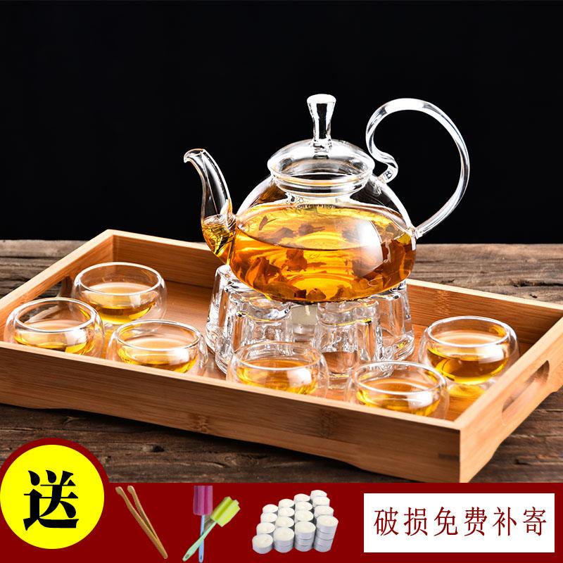 可加热玻璃茶具套装过滤高把家用泡茶壶简约透明耐高温功夫花茶壶