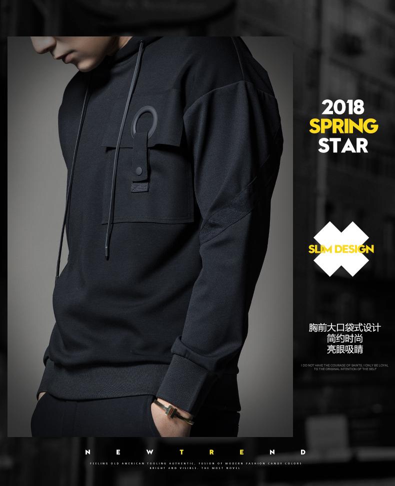 SXF Saint Xi Fan 2018 mùa xuân áo len nam đội mũ trùm đầu áo khoác nam áo khoác trùm đầu trùm đầu triều thương hiệu nam áo len