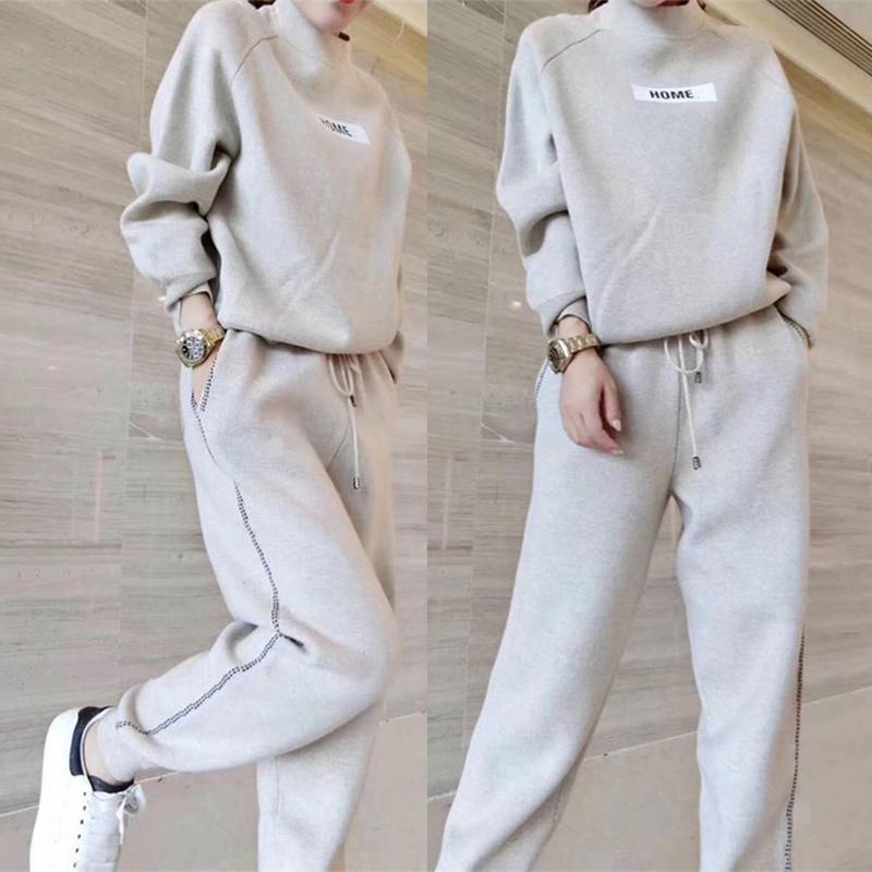 毛衣针织秋冬套装女2020新款件套加厚运动休闲哈伦裤两羊绒欧洲站
