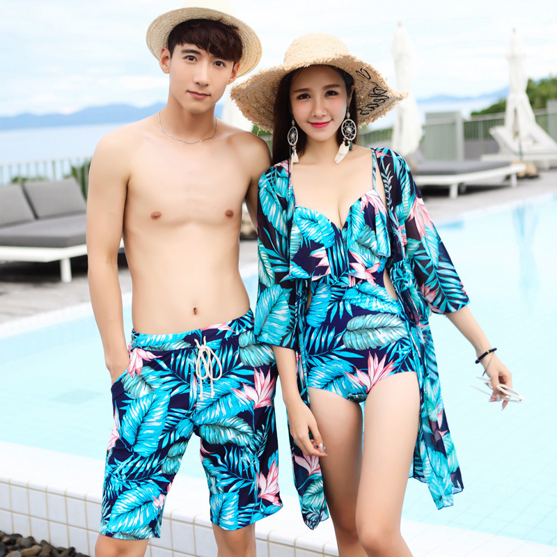f3b9e20277 Sexy one-piece couple swimsuit female cover belly bikini three-piece beach  pants seaside resort Hot Spring couple swimsuit