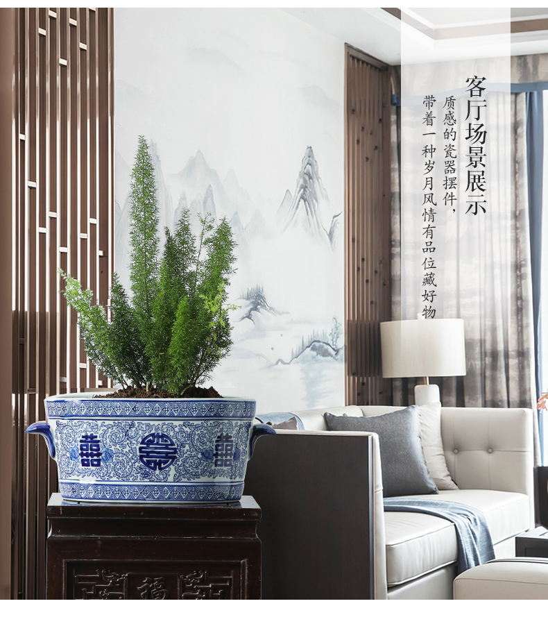 Creative ceramic flower POTS, fleshy plant pot pattern blue and white porcelain ceramic flower pot ground ceramic flower POTS