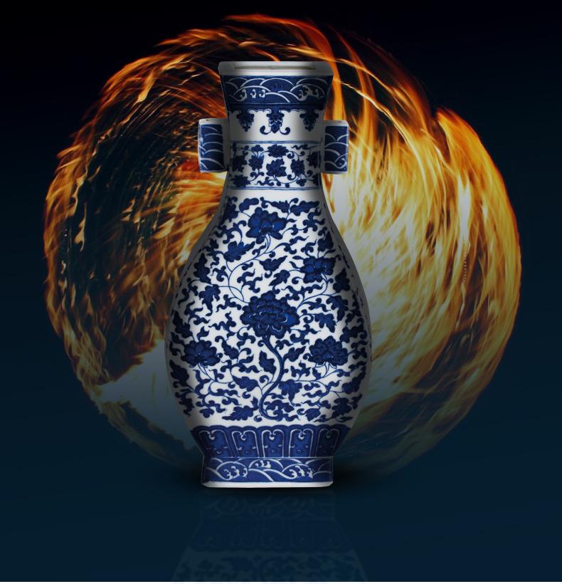 Rain tong hand - made jingdezhen ceramic vase furnishing articles flower arranging hand - made large archaize sitting room big blue and white porcelain vase