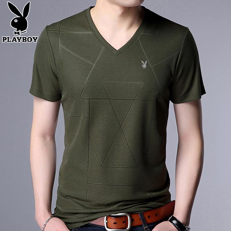 花花公子男士V领短袖T恤夏薄款鸡心领短袖青年男装半袖纯色打底衫[优惠后80元包邮]