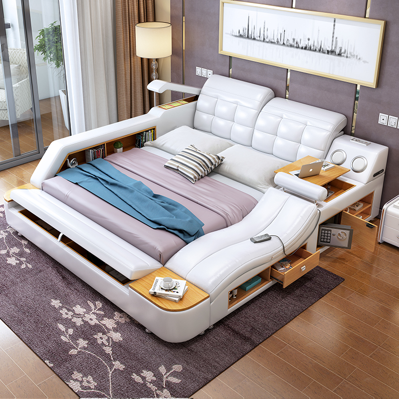 Usd Massage Tatami Bed Modern Minimalist 1 8 M Double Bed Storage Leather Bed Leather