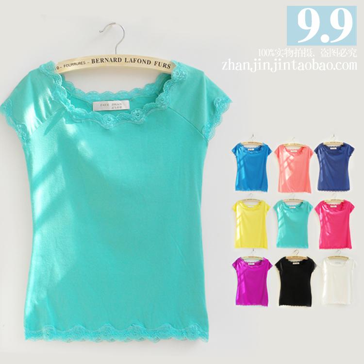 2014夏装新款修身韩版半袖打底衫潮大码女装短袖蕾丝边女士t恤