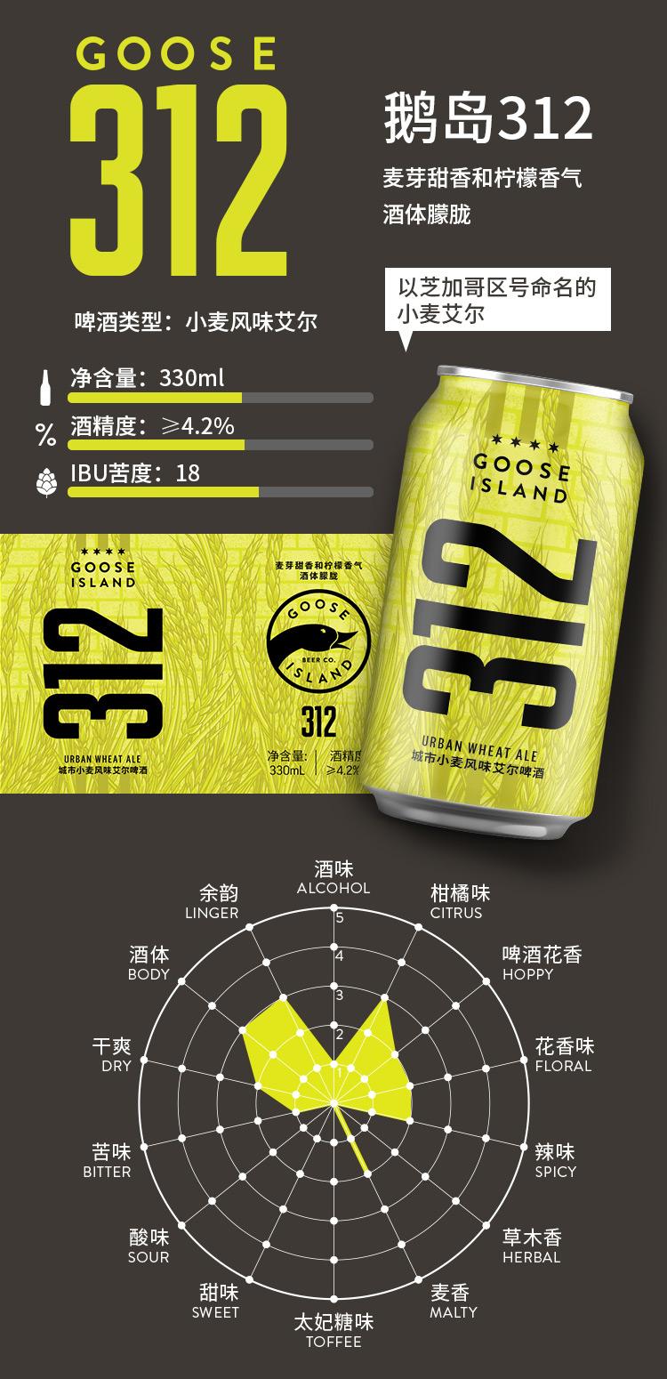 百威英博 GOOSE ISLAND 精酿啤酒组合 330ml*6听 图3