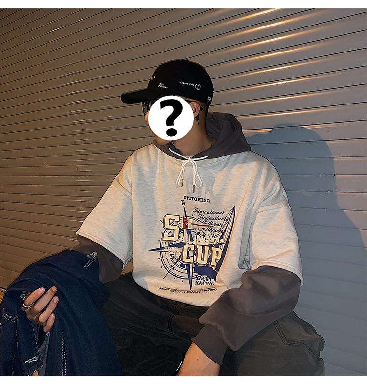 秋冬新款假两件图案印花加绒连帽卫衣男A201-XW180特P70