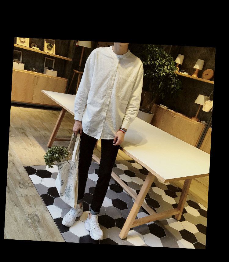 青少年纯色立领衬衫男士休闲纯色衬衣ZC333p35