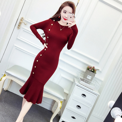 Autumn and winter new women's Korean temperament single breasted Slim in the long section of the bottomed fishtail knit dress