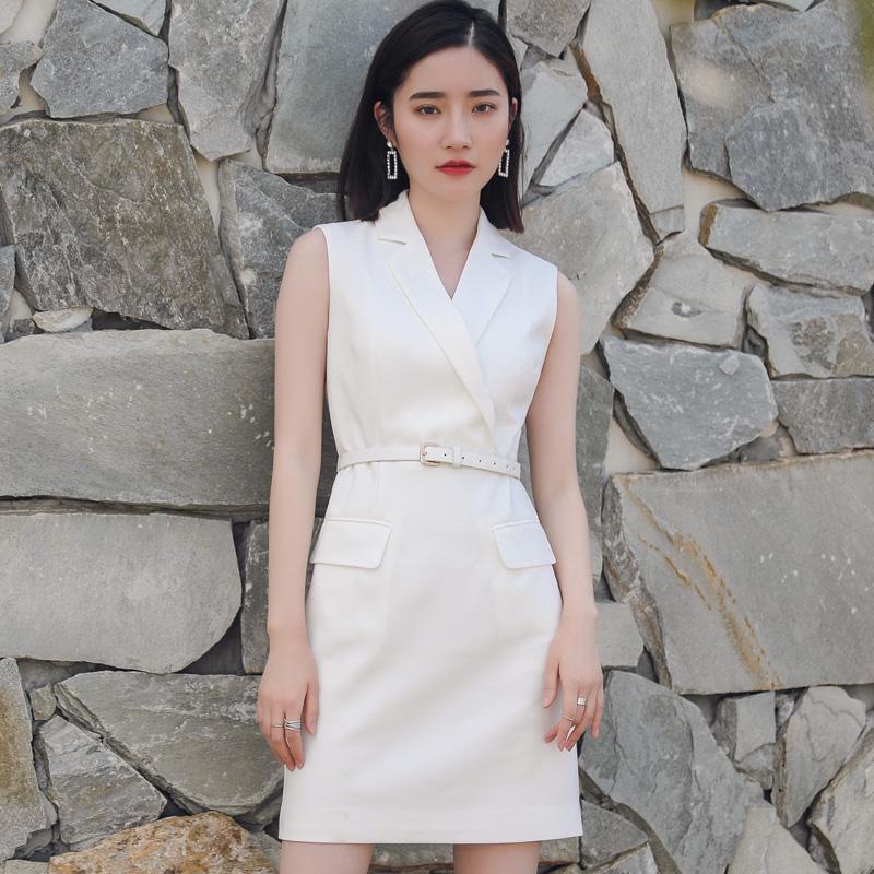欧洲站2017夏装新款一步裙气质短裙子女西装领OL职业裙修身连衣裙