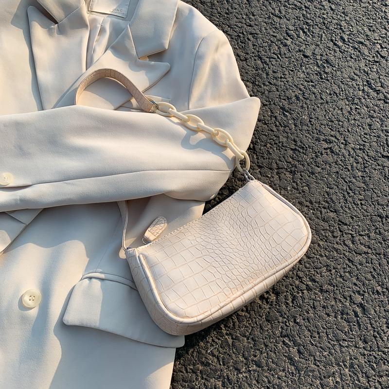 包包女2020春夏新款潮时尚百搭鳄鱼纹法棍包法国小众单肩包腋下包