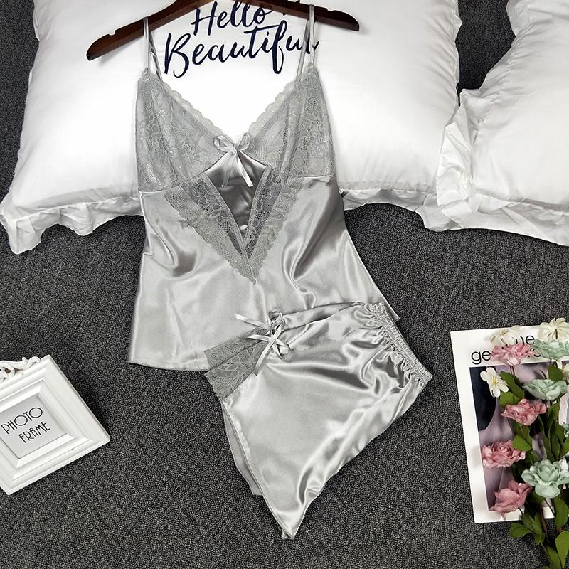 Đồ ngủ nữ mùa hè gợi cảm Hàn Quốc mỏng lỏng lỏng dễ thương băng lụa dây đeo váy ngủ ngắn hai mảnh phù hợp với dịch vụ nhà - Giống cái