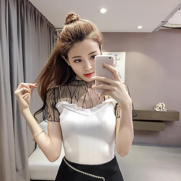 853#实拍!夏季新款韩版修身显瘦短袖拼接网纱针织t恤女