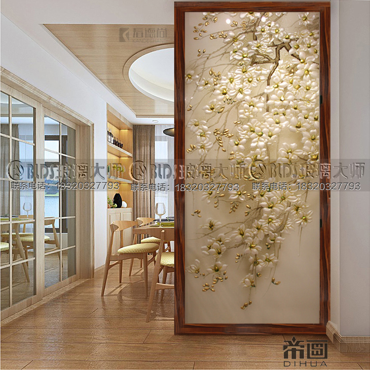 Custom Art Glass Living Room Tv Background Wall Partition Screen Kitchen Xuanguan Cabinet Carved Matte Tempered Jade Tree