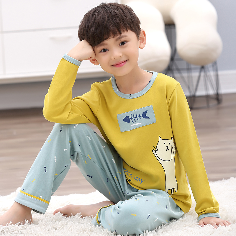9b9a876205 Boys pajamas long-sleeved cotton spring and autumn children s pajamas boys  thin section cotton large children cartoon home service sets