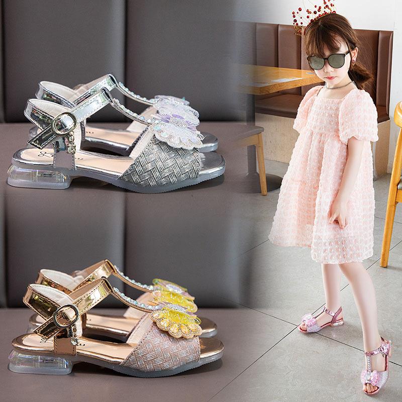 女童凉鞋2021新款小女孩亮片公主鞋夏季软底防滑沙滩鞋儿童凉鞋女
