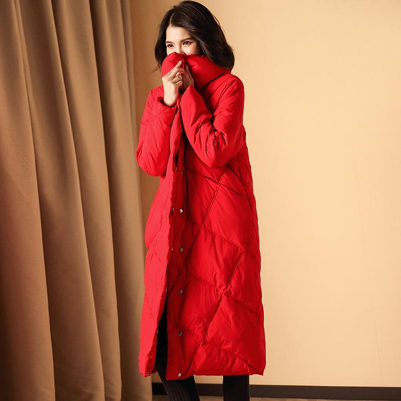 羽绒服女2018新款冬季超长款过膝气质大红结婚外套加厚保暖白鸭绒