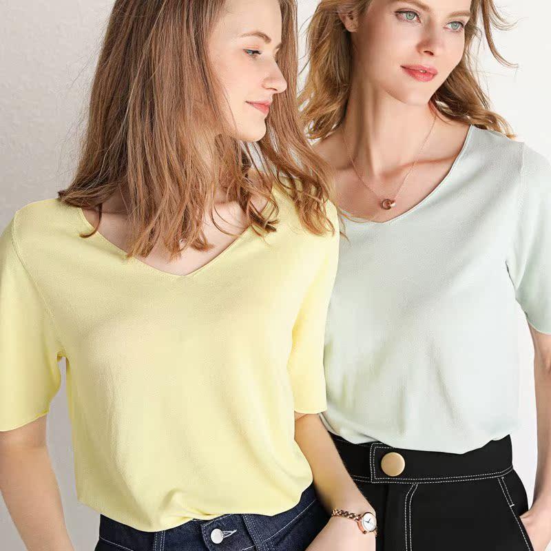 春夏季新款V领糖果短款女毛衣色慵懒针织短袖羊绒衫打底套头修身
