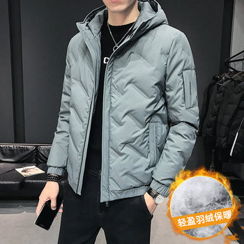 2019 new men's down jacket casual short coat men's winter handsome light white duck down trend cotton coat