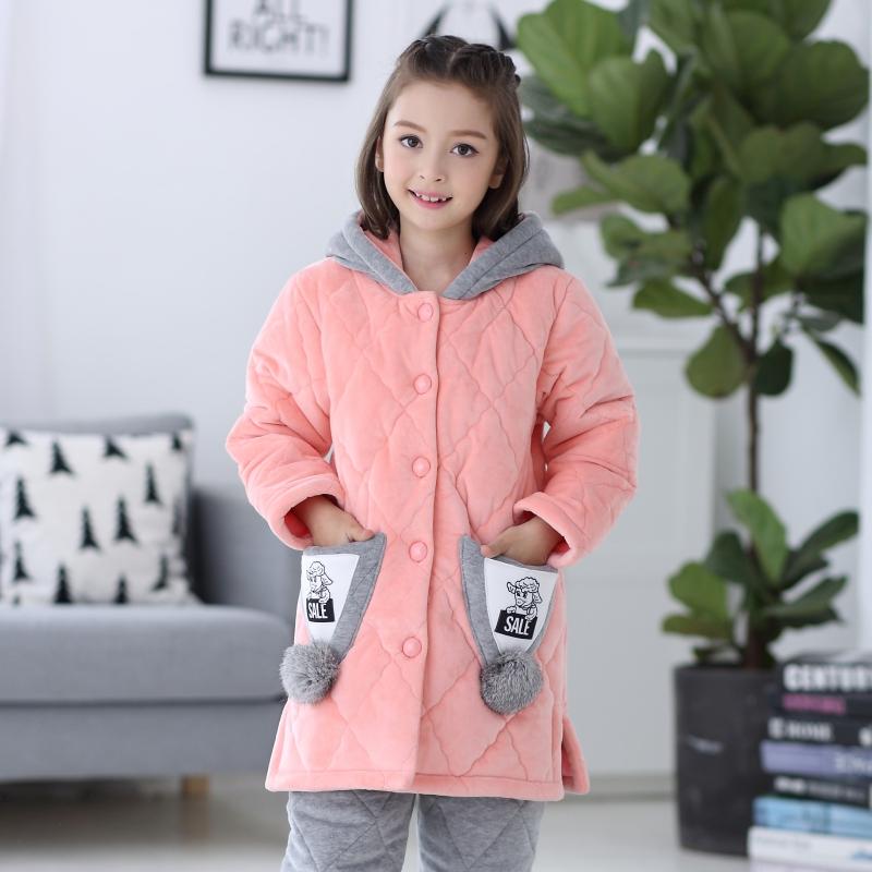 【断码】冬季儿童睡衣女童珊瑚绒法兰绒三层夹棉加厚款加绒家居服