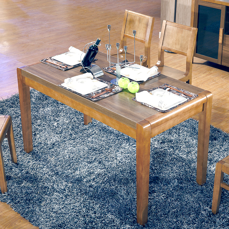 USD Solid Wood Dining Table Rectangular Modern Dining Table - Walnut color dining table