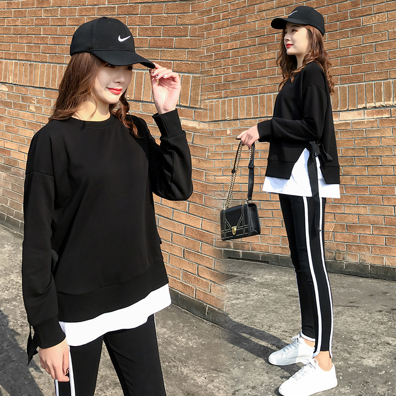2020 Spring and Autumn new Korean version of leisure running sports suit fake two loose-fitting fashion students yang air-guard girl 25 Online shopping Bangladesh