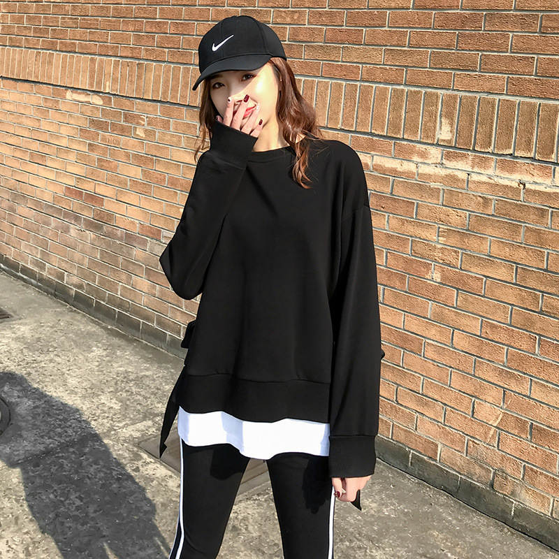2020 Spring and Autumn new Korean version of leisure running sports suit fake two loose-fitting fashion students yang air-guard girl 23 Online shopping Bangladesh
